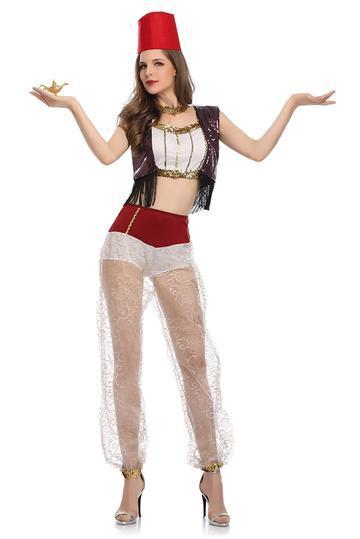 BFJFY Women's Halloween Arab Costume Lamp Of Aladdin Belly Dance Cosplay Costume - bfjcosplayer