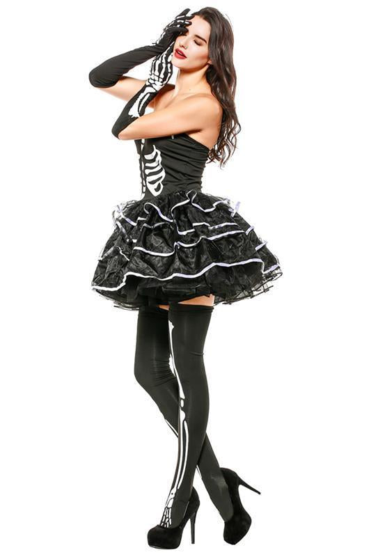 BFJFY Women's Skeleton Bones Costume Halloween Party Strapless Fancy Dress Outfit - bfjcosplayer