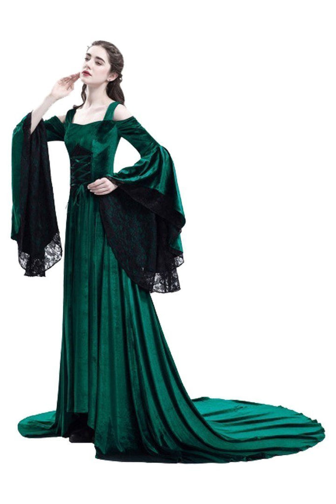 BFJFY Medieval Lacy Dress For Holloween Cosplay Party Women Costume Rode - bfjcosplayer
