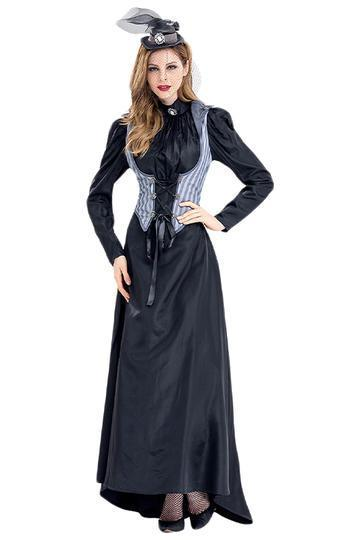 BFJFY Women's Halloween Costume Vintage Gothic Lace Up Overbust Corset Long Dress - bfjcosplayer