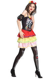 BFJFY Women Halloween Skull Ghost Bride Costumes Bride Party Dress - bfjcosplayer