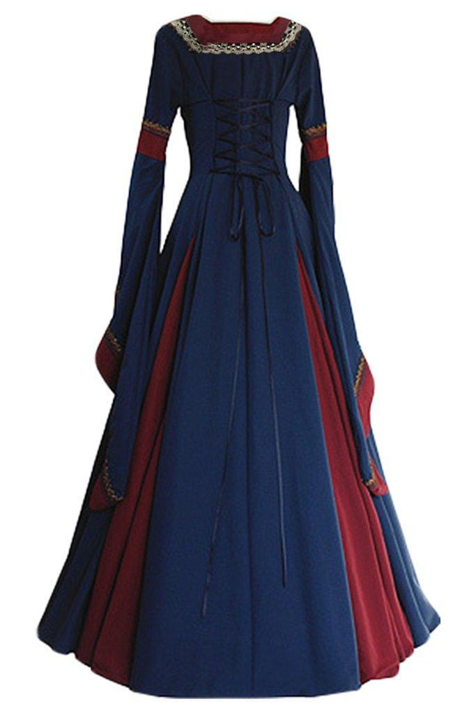 BFJFY Women Medieval Long Gown Dress Victorian Cosplay Flare Halloween Costume - bfjcosplayer