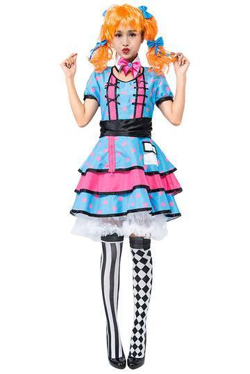 BFJFY Women Halloween Circus Clown Performance Cosplay Dress - bfjcosplayer