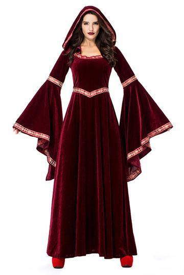 BFJFY Women's Wine Red Vampire Halloween Costume Medieval Court Retro Robe Dress - bfjcosplayer