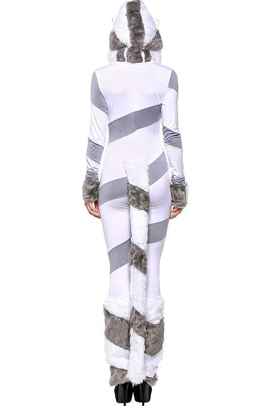 BFJFY Halloween Cosplay Striped Polar Bear Jumpsuit Costume For Women - bfjcosplayer