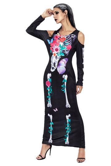 BFJFY Halloween Women Flower Skull Skeleton Scary Cosplay Long Dress - bfjcosplayer