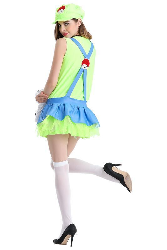 BFJFY Womens Super Mario Party Dress Up Halloween Costume Cosplay Green - bfjcosplayer