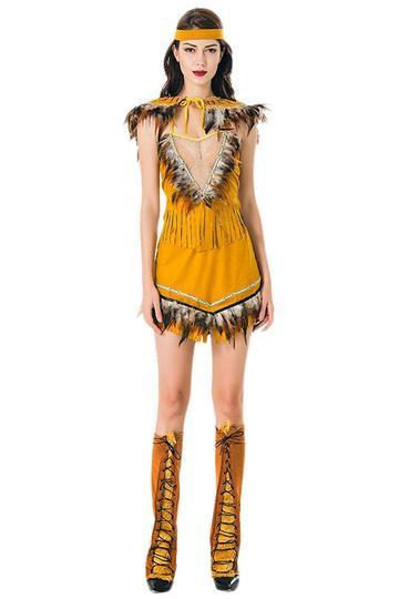 BFJFY Women's Native American Costume Sexy Indian Fancy Dress Outfit - bfjcosplayer