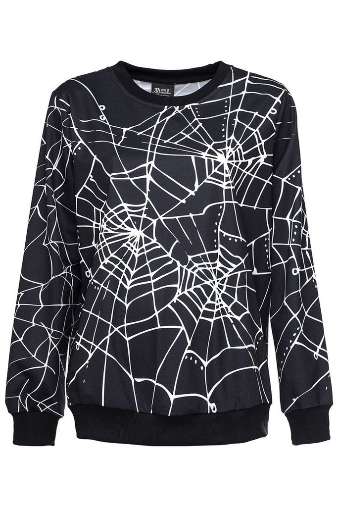 BFJFY Women Halloween Spider Net Printed Sweater Cosplay Costume - bfjcosplayer