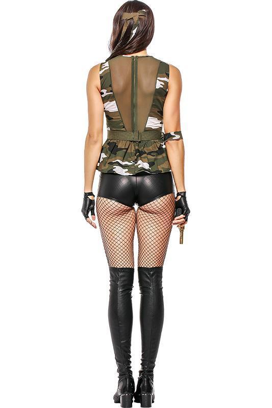 BFJFY Halloween Women's Camouflage Costume Female Instructor Spy Uniform Outfit - bfjcosplayer