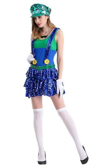 BFJFY Womens Super Mario Dress Up Party Halloween Cosplay Costume - bfjcosplayer