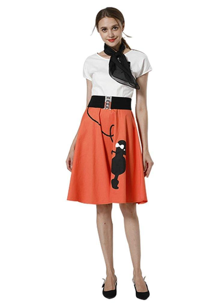 BFJFY Women Poodle Print Skirt Dress Halloween Costume - bfjcosplayer