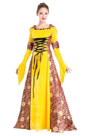 BFJFY Women 70s Dress European Retro Royal Noble Halloween Costume - bfjcosplayer