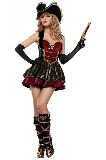 BFJFY Women's Halloween Caribbean Female Pirate Captain Dress Outfit - bfjcosplayer