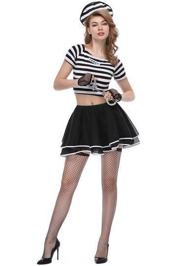BFJFY Girls Women Sexy Prisoner Uniform Dress Up Halloween Cosplay Costume - bfjcosplayer