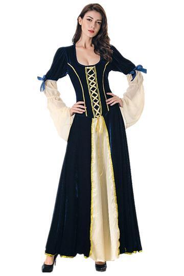 BFJFY Halloween Women's Vintage Medieval Princess Cosplay Long Dress - bfjcosplayer