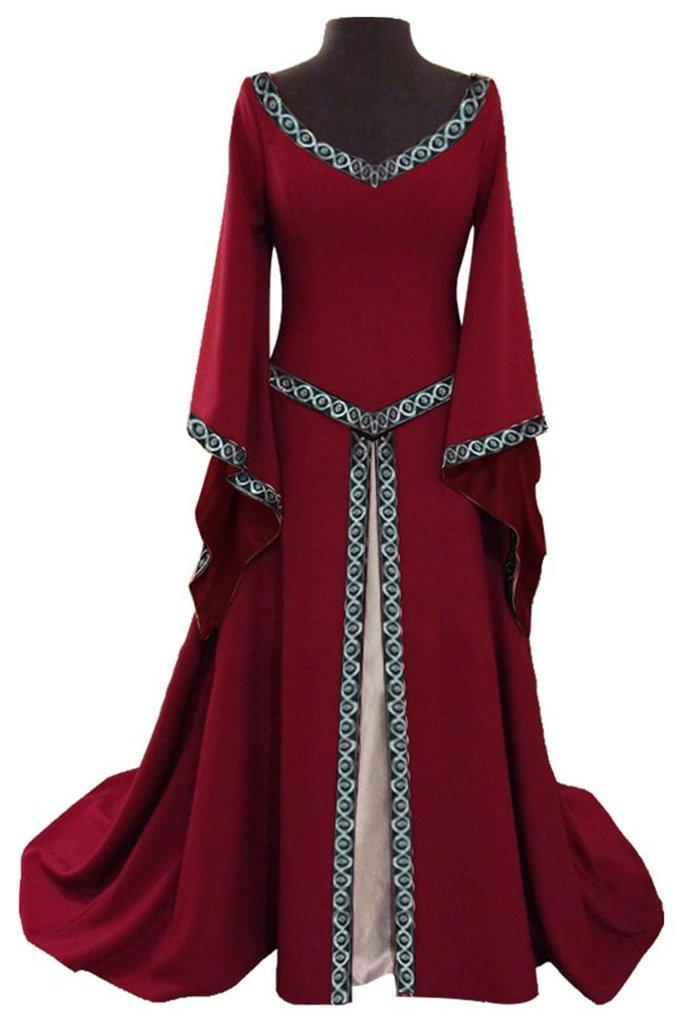 BFJFY Women V Neck Long Sleeve Medieval Long Dress Halloween Cosplay Costume - bfjcosplayer