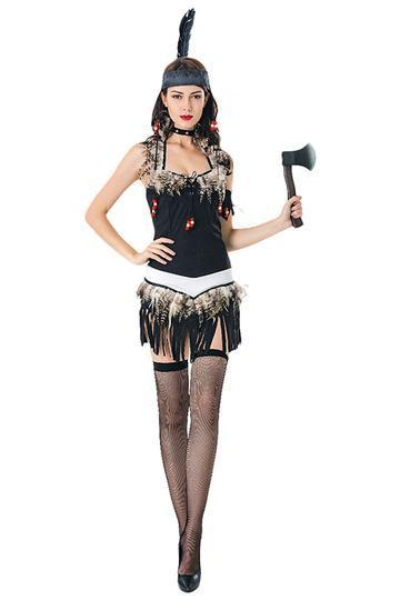 BFJFY Women Indian Costume Halloween Tribal Warrior Cospaly Costume - bfjcosplayer
