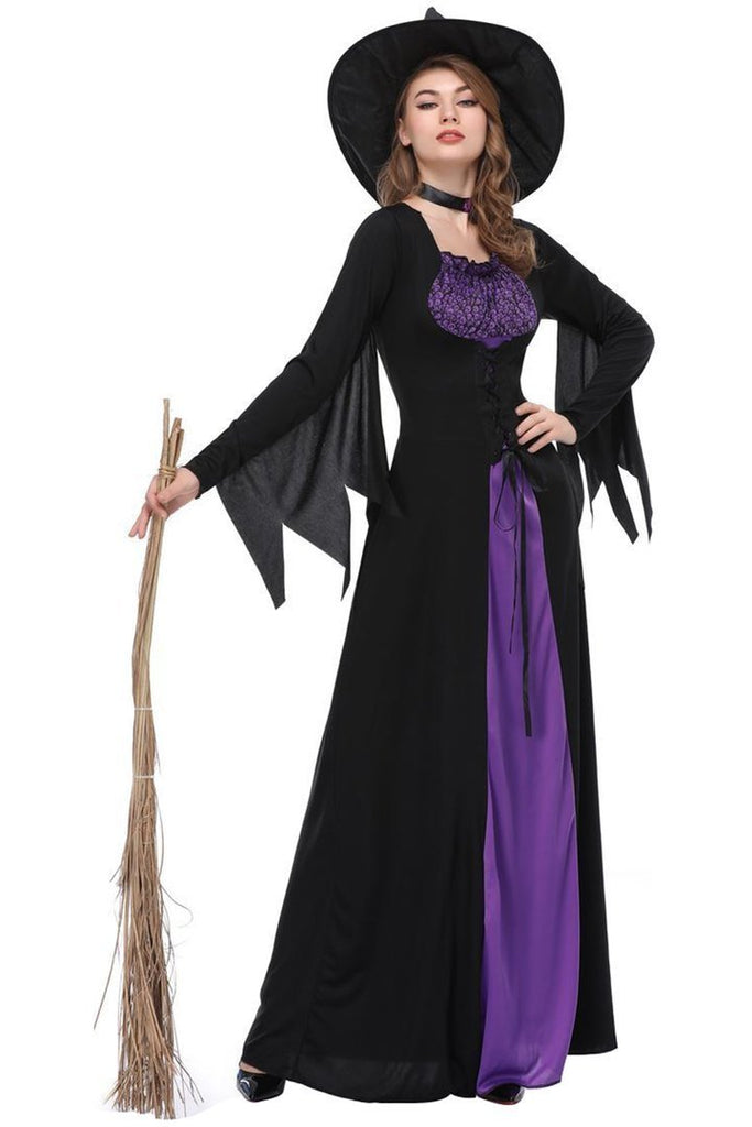 BFJFY Women's Purple Witch Costume Dress Halloween Cosplay - bfjcosplayer
