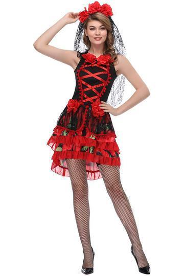 BFJFY Womens Sexy Black Red Bride Dress Halloween Dress Up Costume - bfjcosplayer