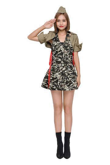 BFJFY Halloween Women's Army Camouflage Spy Army Cosplay Costume - bfjcosplayer