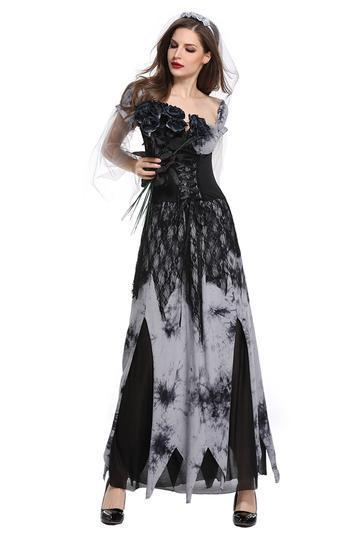 Women's Halloween Cosplay Costume Evil Vampire Bride Performance Costume - bfjcosplayer