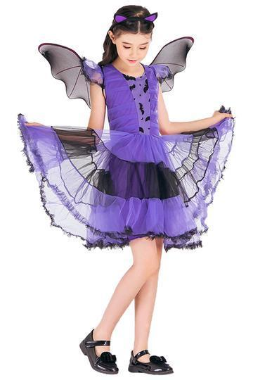 BFJFY Girl's Halloween Bat Fairy Dress Princess Cosplay Costume - bfjcosplayer