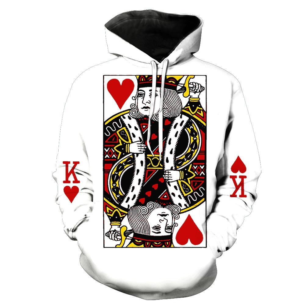 BFJmz  Poker Red Peach K Hooded Sweater 3D Printing Coat Leisure Sports Sweater Autumn And Winter - bfjcosplayer