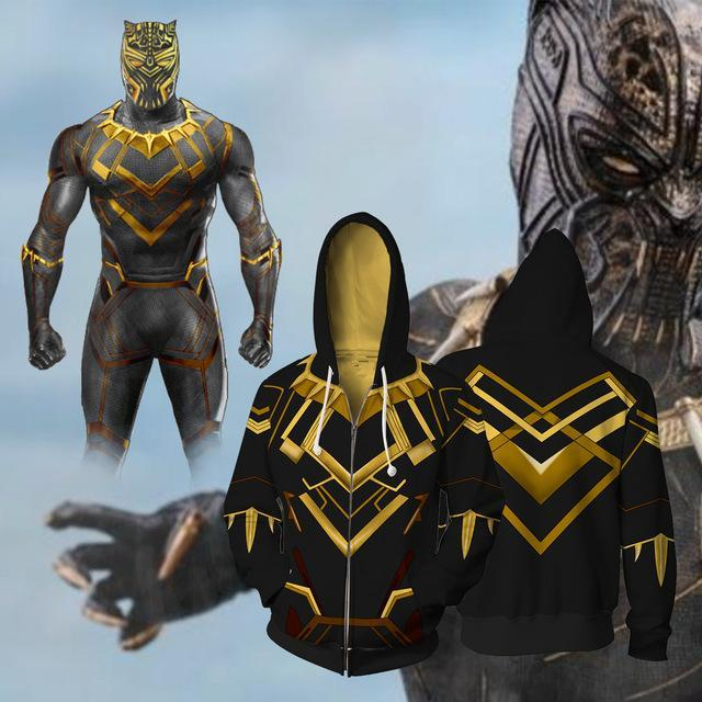 BFJmz Black Panther Villain Gold Panther 3D Printing Coat Zipper Coat Leisure Sports Sweater Autumn And Winter - bfjcosplayer