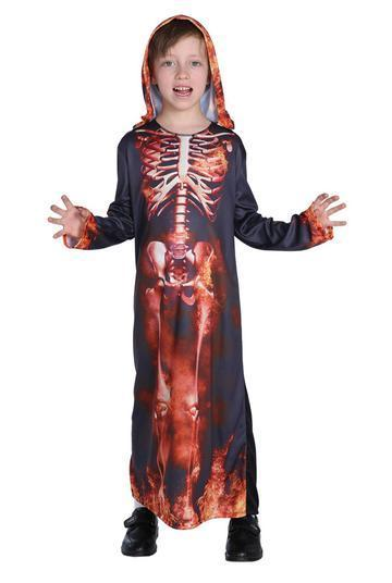 BFJFY Kid's Boy's Flame Skull On Fire Robe Cope Halloween Cosplay Costume - bfjcosplayer