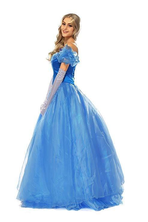 BFJFY Womens Cinderella Princess Blue Full Dress Halloween Cosplay Costume - bfjcosplayer
