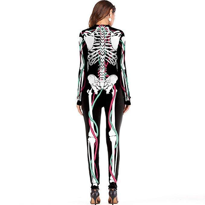 BFJFY Women's Halloween Scary Bones Skull Cosplay Jumpsuit - bfjcosplayer