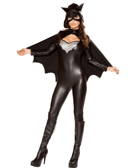BFJFY Women Halloween Superhero Batgirl Cosplay Costume Jumpsuit - bfjcosplayer