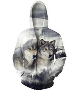 BFJmz Wolf Printing Hooded Sweater 3D Printing Coat Leisure Sports Sweater Autumn And Winter - bfjcosplayer