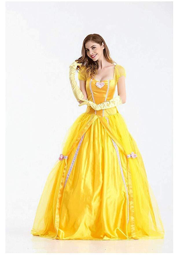 BFJFY Halloween Women Beauty And The Beast Princess Dress Fairy Cosplay Costume - bfjcosplayer