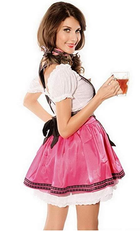 BFJFY Women's Pink Oktoberfest Dress Halloween Beer Festival Maid Cosplay Costume - bfjcosplayer