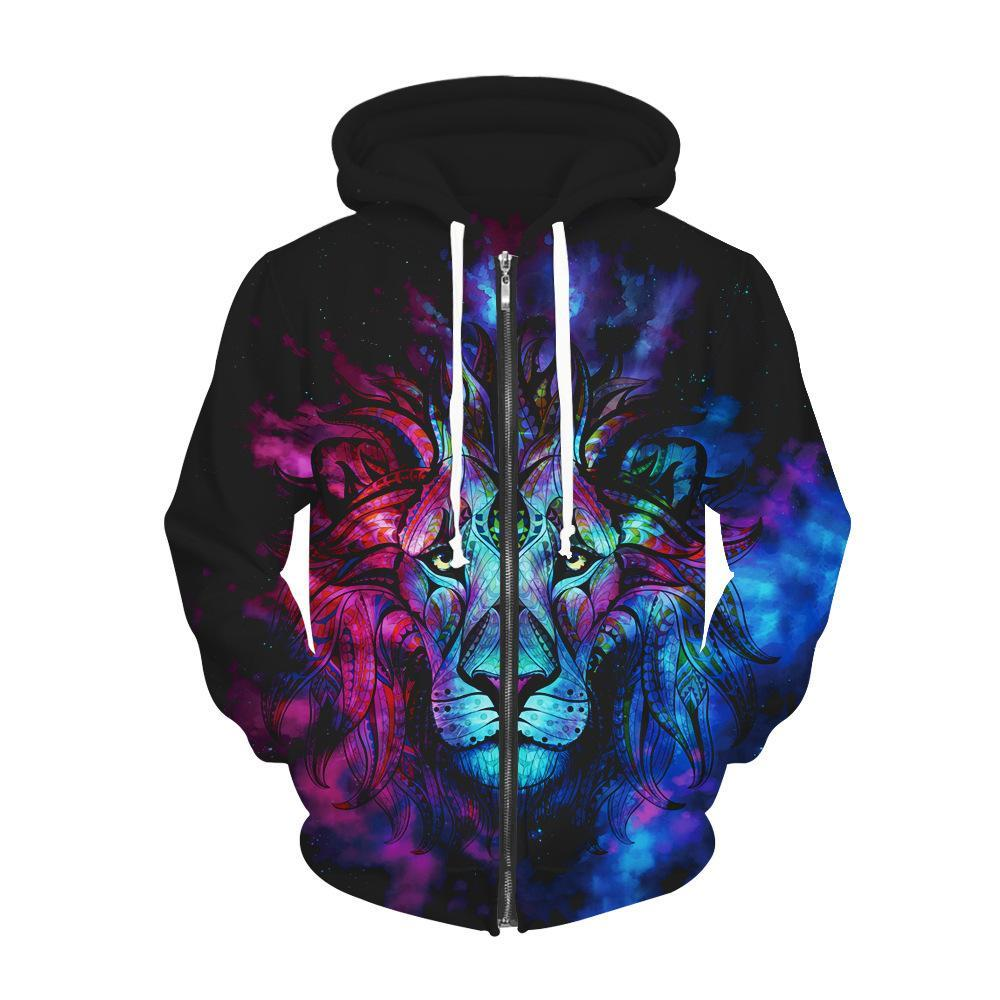 BFJmz Lion 3D Printing Coat  Zipper Coat Leisure Sports Sweater Autumn And Winter - bfjcosplayer