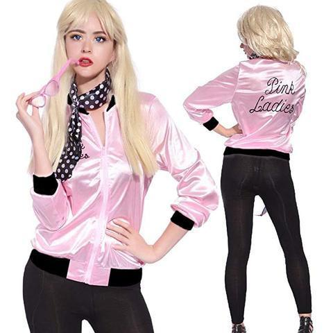 BFJFY Women Pink Lady Jacket Retro Grease Halloween Costume - bfjcosplayer