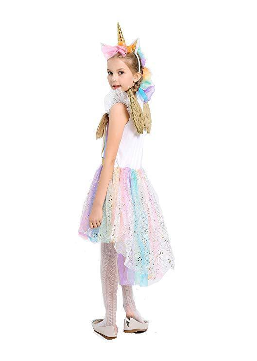BFJFY Halloween Girl's Unicorn Rainbow Princess Dress Cosplay Costume - bfjcosplayer