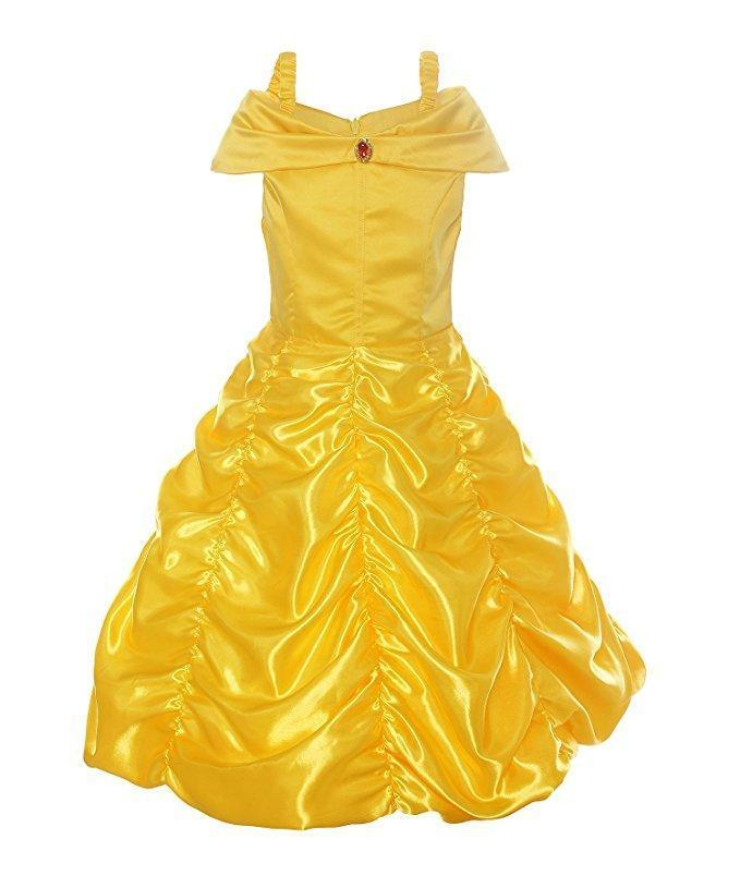 BFJFY Halloween Girl's Beaty And The Beast Layered Princess Belle Cosplay Dress - bfjcosplayer