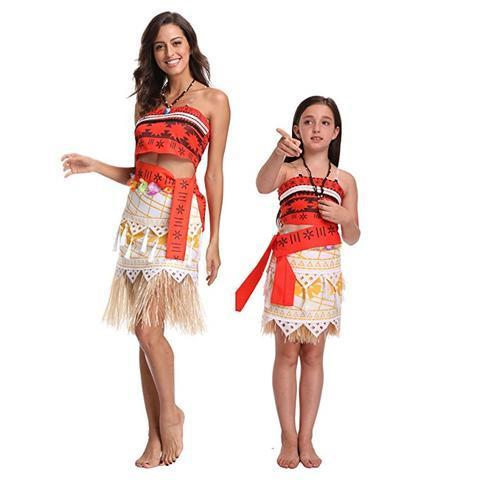 BFJFY Women Girls Adventure Princess Moana Skirt Costume Halloween Dress - bfjcosplayer