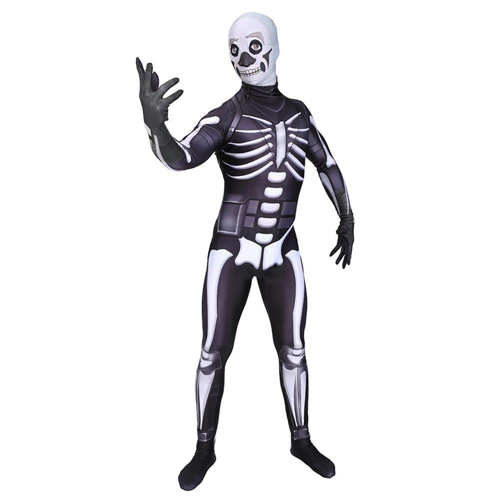 Fortnite Skull Trooper Cosplay Jumpsuit Costume For Halloween Kids & Adult - bfjcosplayer