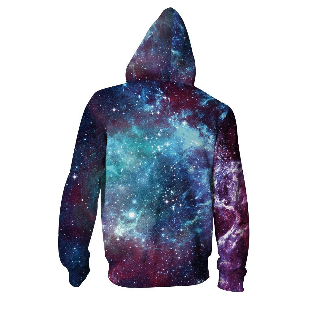 BFJmz Resplendent Starry Sky Galaxy 3D Printing Coat  Zipper Coat Leisure Sports Sweater Autumn And Winter - bfjcosplayer