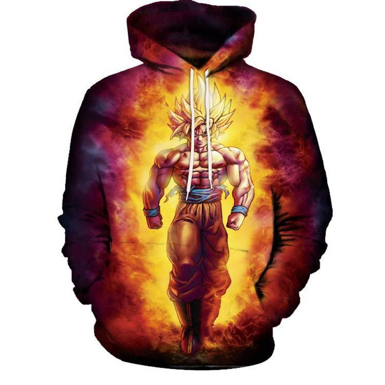 BFJmz Dragon Ball Super Saiyan Wukong 3D Printing Coat Leisure Sports Sweater Autumn And Winter - bfjcosplayer