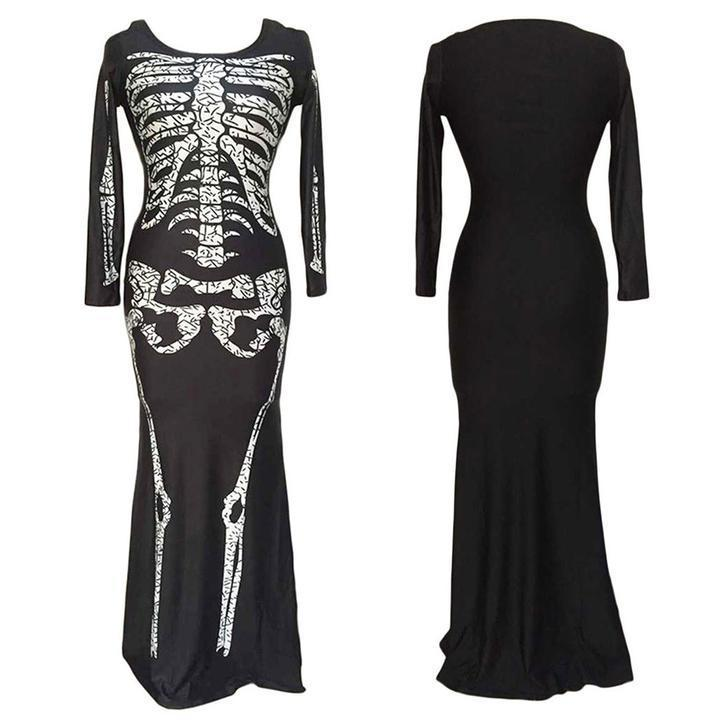 BFJFY Halloween Cosplay Costume Women Skull Pettern Scary Bones Long Dress - bfjcosplayer