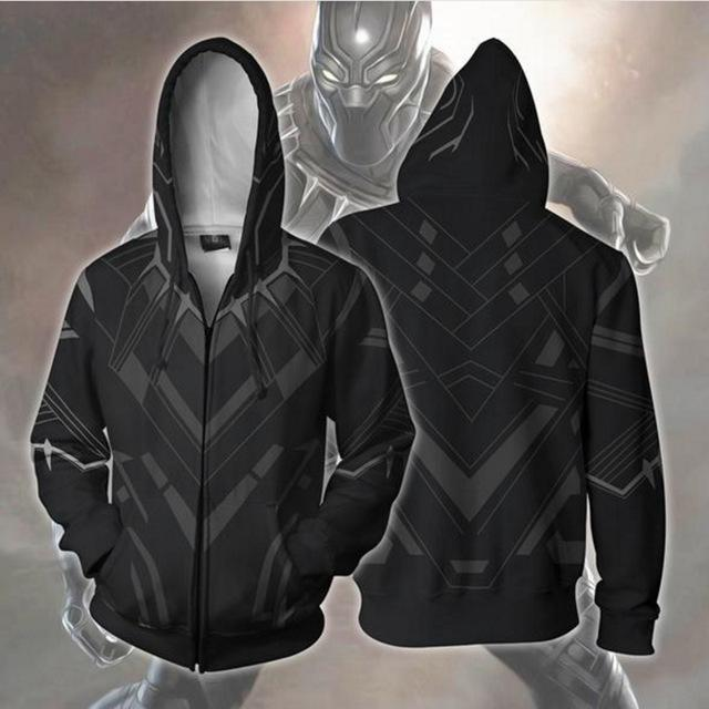 BFJmz Marvel Avengers Black Panther 3D Printing Coat Zipper Coat Leisure Sports Sweater Autumn And Winter - bfjcosplayer