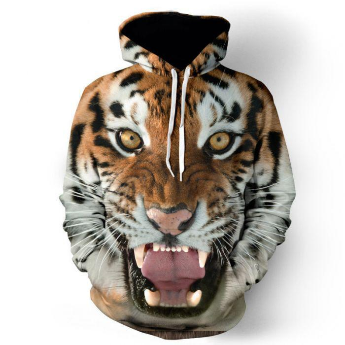 BFJmz 3D Tiger Hooded Sweater 3D Printing Coat Leisure Sports Sweater Autumn And Winter - bfjcosplayer