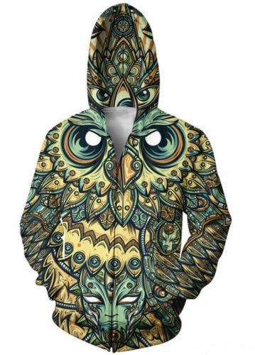 BFJmz Owl Hooded Sweater 3D Printing Coat Zipper Coat Leisure Sports Sweater Autumn And Winter - bfjcosplayer