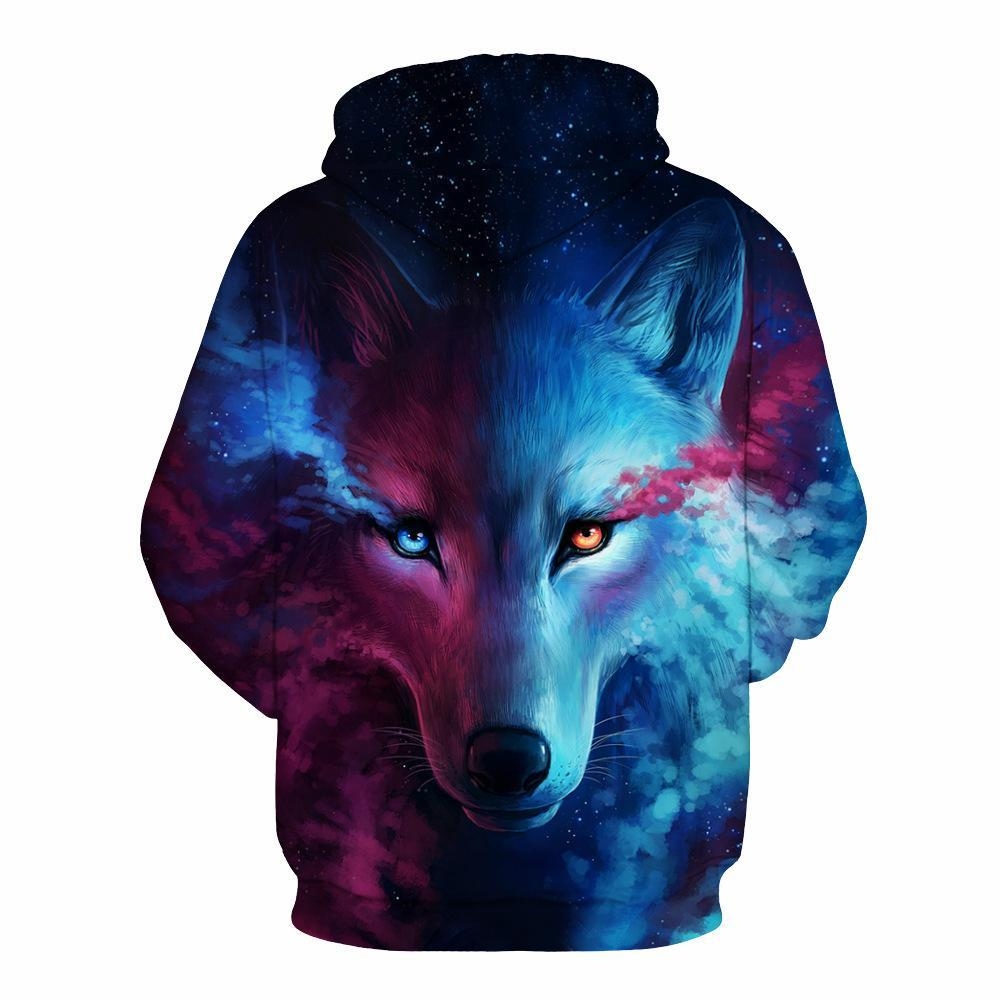 BFJmz Ice Fire Wolf 3D Printing Coat Zipper Coat Leisure Sports Sweater  Autumn And Winter - bfjcosplayer