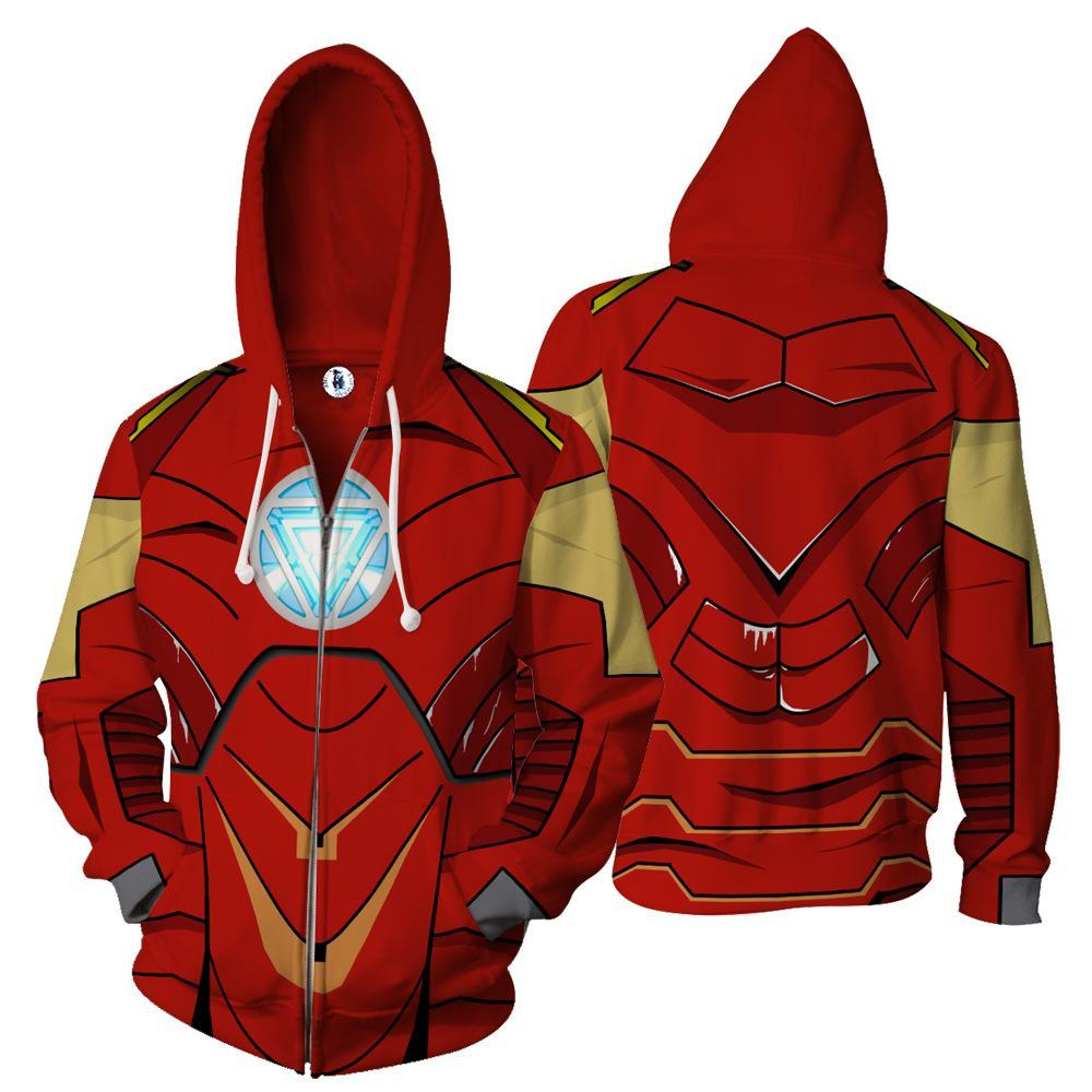 BFJmz Iron Man MK 4 Hooded Sweater 3D Printing Coat Zipper Coat Leisure Sports Sweater Autumn And Winter - bfjcosplayer